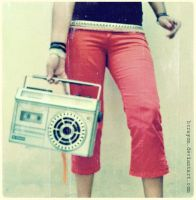 red pants and old radio. by bcrayon