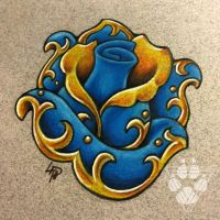 Turquoise Gold - Jeweled Rose by Wolfish-Dreams