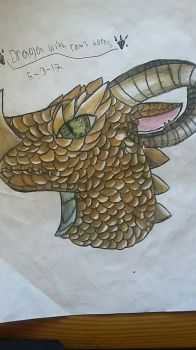 Dragon with Ram's horns  (FINISHED) by DlerafoxDeviantart