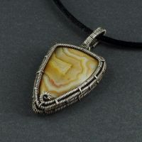 Yellow Agate and Sterling Silver Necklace by sylva
