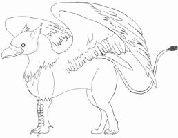 Inked Griffin Sketch by The-Blue-Dragon