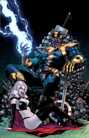 Thanos and Lady Death by J-Skipper
