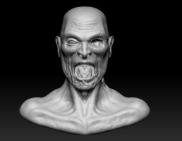 Zombie Bust Front View by EvilHayato