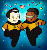 Data and Geordi TNG in Love! by ChibiCelina
