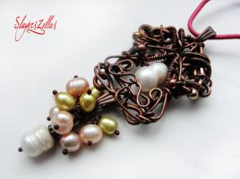 Wire wrapping necklace with natural pearls by Benia1991