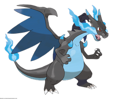 Pokemon Mega Charizard X version offical artwork by OneExisting