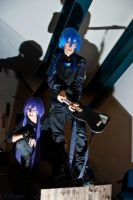 Gakupo Kamui in black cosplay. .With Kaito. by EvylSutcliffe