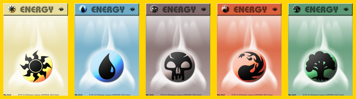 Pokemon or Magic the Gathering Mana Energy Cards by IAmTheDaveO