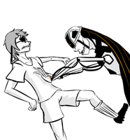 Rugby soccer with Wheatley and Glados by gabsters109