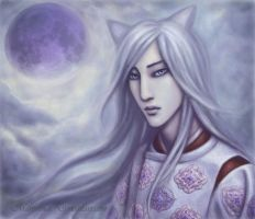 Blue Moon and a Silver Kitsune by marurenai