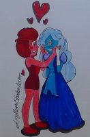 Ruby and  Sapphire by AmyRoseXShadowlover