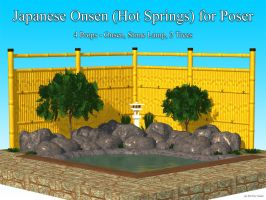 Freebie: Japanese Onsen (Hot Springs) For Poser by UweG