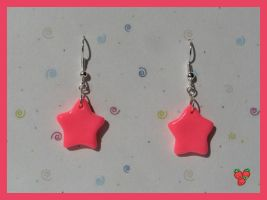 Pink Fluo Stars Earrings, fimo by merylu