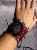 Burgundy Skull Wristcuff by RagDolliesMadhouse