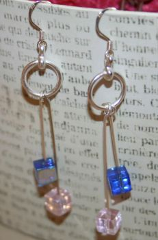 pink and Blue Earrings number by artemisarrow