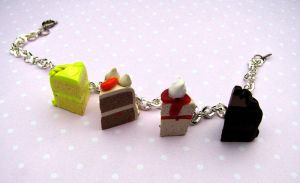 Four Slices of Cake bracelet by Miss-Millificent
