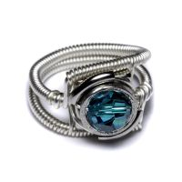 Cyberpunk Blue Zircon Ring by CatherinetteRings