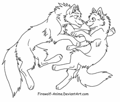 Wolf Float LineArt by Firewolf-Anime