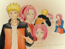 Behind The Hero narusaku by quimista