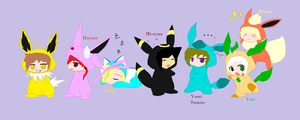 my zelda oc's as eevees XD by OniChick63