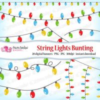 String Lights bunting banners clipart by PolpoDesign