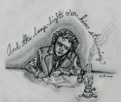 Edgar A. Poe Penning The Raven. by ShadeOPale