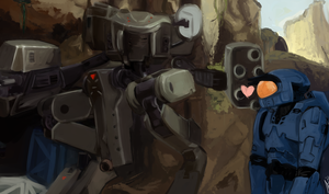 A boy and his Giant Killer Robot by inkscratches