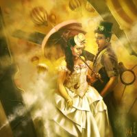 Steampunk wedding by kittrose