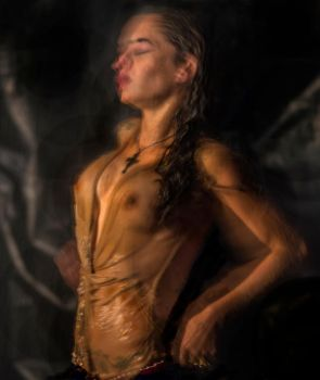 Wet Woman With Crucifix by Laurence2