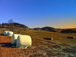 Hay bales and panorama by patrickjobst