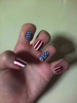 American Flag Inspired Nails by TheNailFile