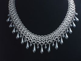 Graduated Hematite Drop Collar Chainmail Necklace by Pharewings