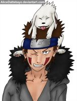 Kiba and Akamaru colored by AliceDattebayo