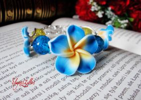 Polymer clay bracelet with blue flowers by Benia1991