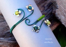 Green Wire wrapped Arm Bracelet with Chrysocolla by IanirasArtifacts