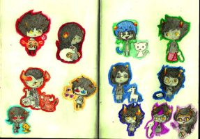 Homestuck Troll Chibis Finished! by TheCherryGoldfish