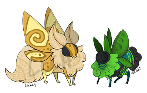 [Closed] Doily and Greeny Mothbutts by lechet-adoptables