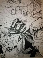 Batman taking out The Joker by RedHobGoblin