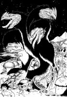 Giant monsters in Black n White 1/3 by ChaosGhidorah