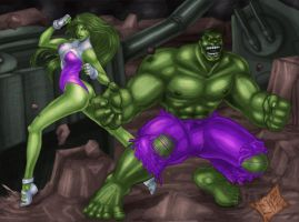 Hulk and She-Hulk Smash by ChadFeldpausch