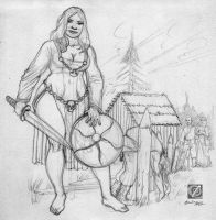 wench in pencil by chclaudino