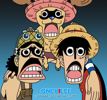 Luffy, Usopp and Chopper by SergiART