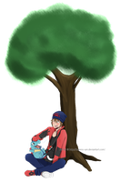 Kai and Totodile chilling by Mysterious-Flame