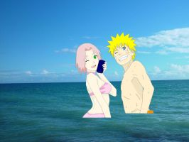 narusaku in the sea by Bleach-Fairy