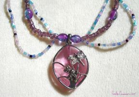 Spring of the Fireflies Necklace Closeup by OtakuEC