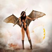 Attack in boots Succubus version swimsuit 2 by FueledbypartII