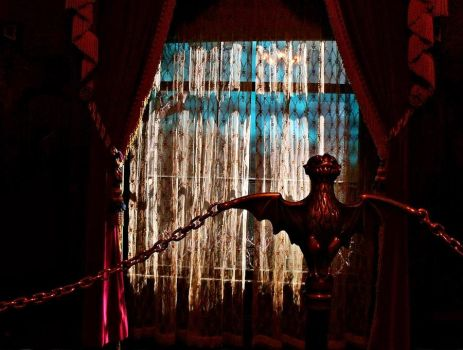Haunted Mansion Lightning Window and Bat Stanchion by InnsmouthFishwife