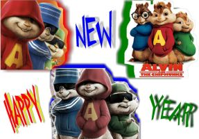 HNY - Alvin and The Chipmunks by Inuyashathegreat1