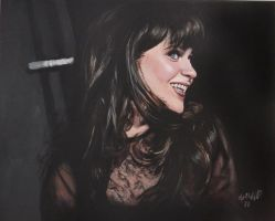 Zooey Deschanel- my painting of her by cliford417