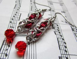 Red and silver beaded chainmaille earrings by TerraNovaJewels